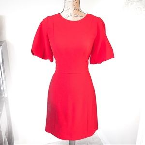 Eliza J Puff Sleeve Crepe Fit & Flare Dress Red